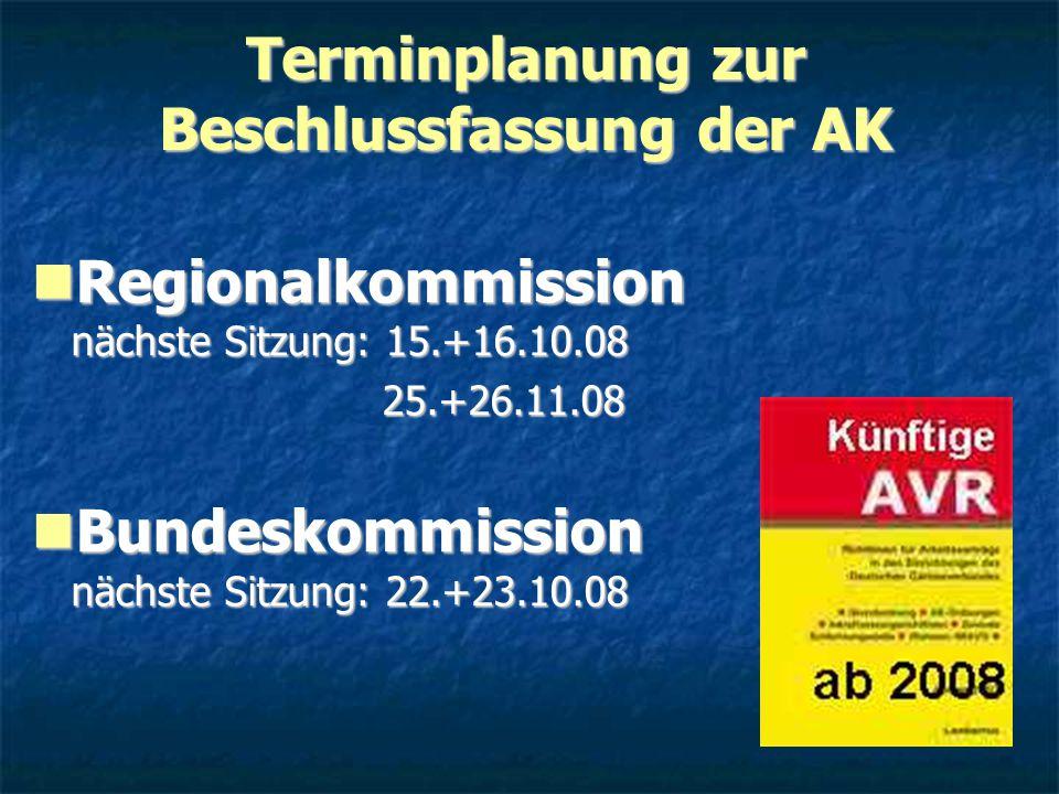 Terminplanung zur Beschlussfassung der AK Regionalkommission nächste Sitzung: 15.+16.10.08 Regionalkommission nächste Sitzung: 15.+16.10.08 25.+26.11.08 25.+26.11.08 Bundeskommission nächste Sitzung: 22.+23.10.08 Bundeskommission nächste Sitzung: 22.+23.10.08