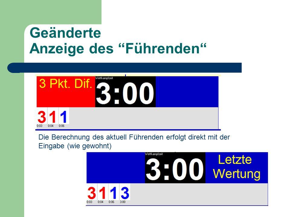 Geänderte Anzeige des Führenden Die Berechnung des aktuell Führenden erfolgt direkt mit der Eingabe (wie gewohnt)