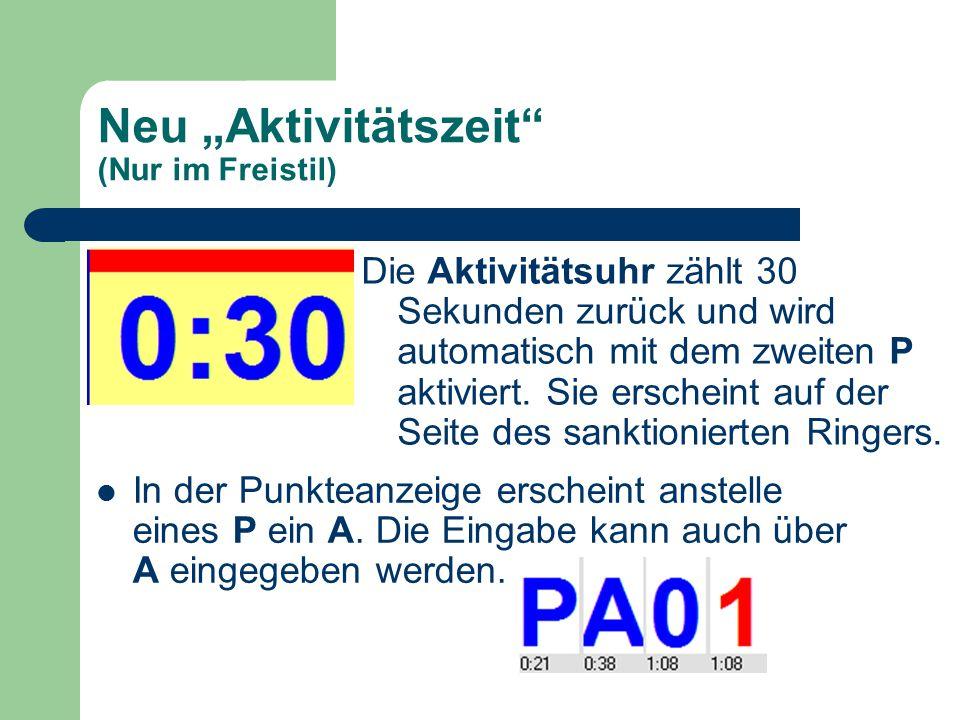 """Neu """"Aktivitätszeit (Nur im Freistil) Vorsicht: nach 30 Sekunden hält die Uhr nicht an."""