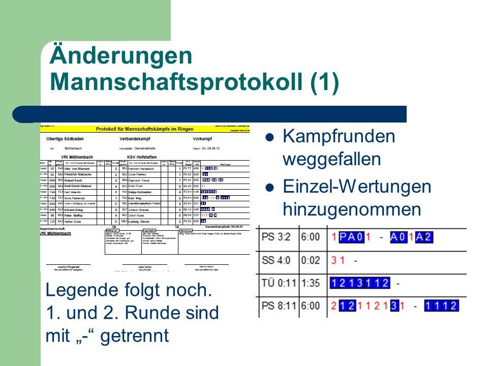 "Änderungen Mannschaftsprotokoll (2) Neu: Auswahl ""o Rot und ""o Blau Neu: Einzelkampfbezogene Bemerkung (Texte werden Feld Bemerkungen automatisch gedruckt.)"