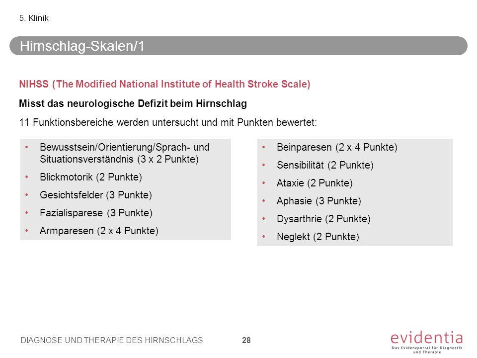 NIHSS (The Modified National Institute of Health Stroke Scale) Misst das neurologische Defizit beim Hirnschlag 11 Funktionsbereiche werden untersucht und mit Punkten bewertet: 5.