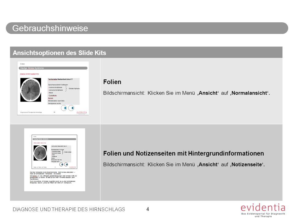 Gebrauchshinweise DIAGNOSE UND THERAPIE DES HIRNSCHLAGS 4 Ansichtsoptionen des Slide Kits Folien Bildschirmansicht: Klicken Sie im Menü 'Ansicht' auf 'Normalansicht'.