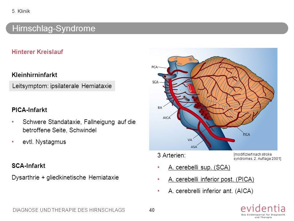 Hinterer Kreislauf Kleinhirninfarkt PICA-Infarkt Schwere Standataxie, Fallneigung auf die betroffene Seite, Schwindel evtl. Nystagmus SCA-Infarkt Dysa