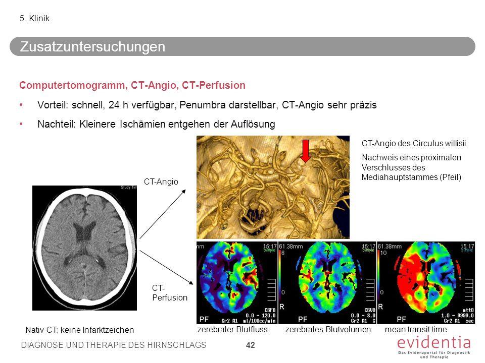 Computertomogramm, CT-Angio, CT-Perfusion Vorteil: schnell, 24 h verfügbar, Penumbra darstellbar, CT-Angio sehr präzis Nachteil: Kleinere Ischämien entgehen der Auflösung 5.