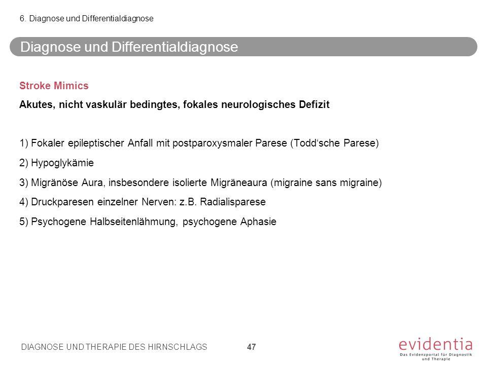 Stroke Mimics Akutes, nicht vaskulär bedingtes, fokales neurologisches Defizit 1) Fokaler epileptischer Anfall mit postparoxysmaler Parese (Todd'sche Parese) 2) Hypoglykämie 3) Migränöse Aura, insbesondere isolierte Migräneaura (migraine sans migraine) 4) Druckparesen einzelner Nerven: z.B.