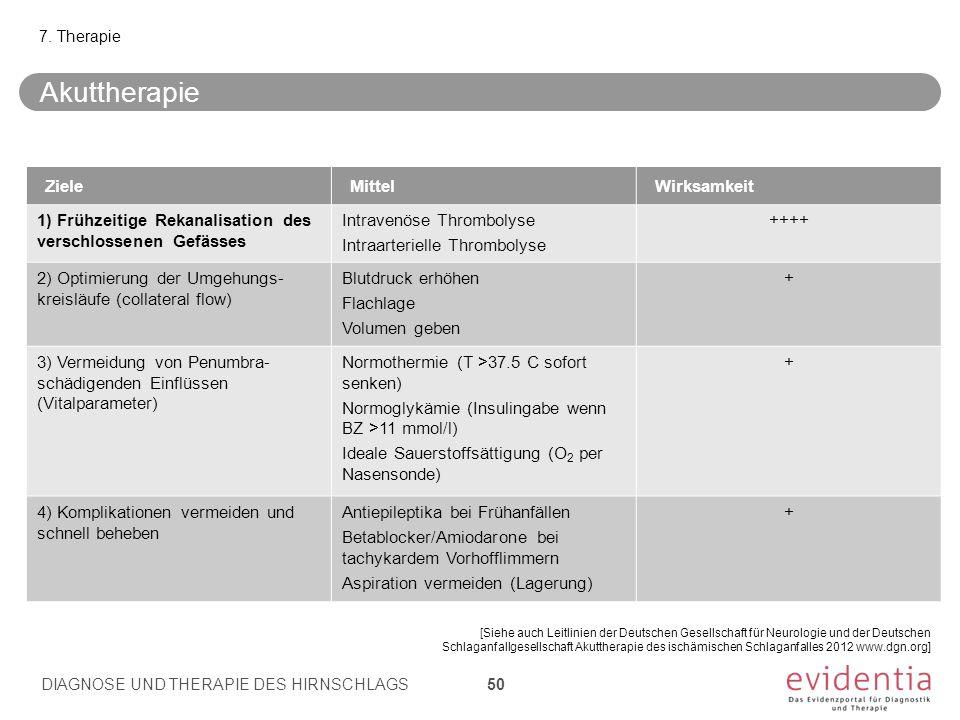 7. Therapie [Siehe auch Leitlinien der Deutschen Gesellschaft für Neurologie und der Deutschen Schlaganfallgesellschaft Akuttherapie des ischämischen
