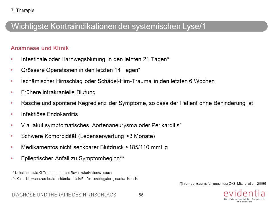 Anamnese und Klinik Intestinale oder Harnwegsblutung in den letzten 21 Tagen* Grössere Operationen in den letzten 14 Tagen* Ischämischer Hirnschlag od