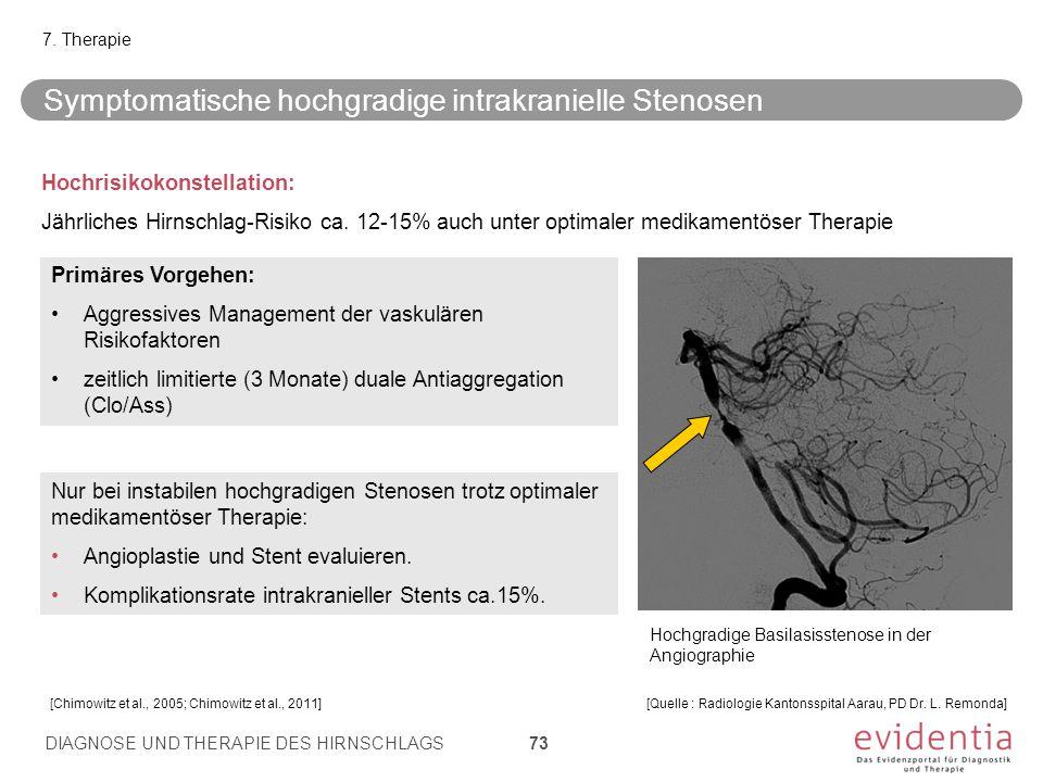 Symptomatische hochgradige intrakranielle Stenosen Hochrisikokonstellation: Jährliches Hirnschlag-Risiko ca. 12-15% auch unter optimaler medikamentöse