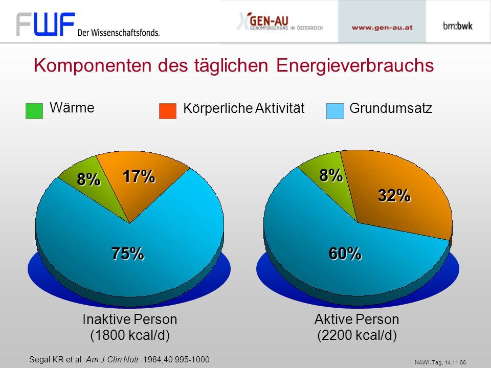 NAWI-Tag, 14.11.06 Komponenten des täglichen Energieverbrauchs Segal KR et al. Am J Clin Nutr. 1984;40:995-1000. Wärme Körperliche AktivitätGrundumsat