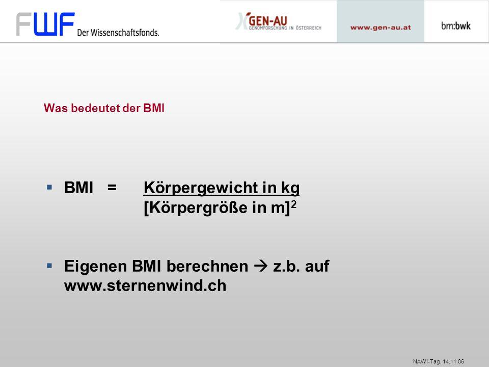NAWI-Tag, 14.11.06 Was bedeutet der BMI  BMI = Körpergewicht in kg [Körpergröße in m] 2  Eigenen BMI berechnen  z.b. auf www.sternenwind.ch