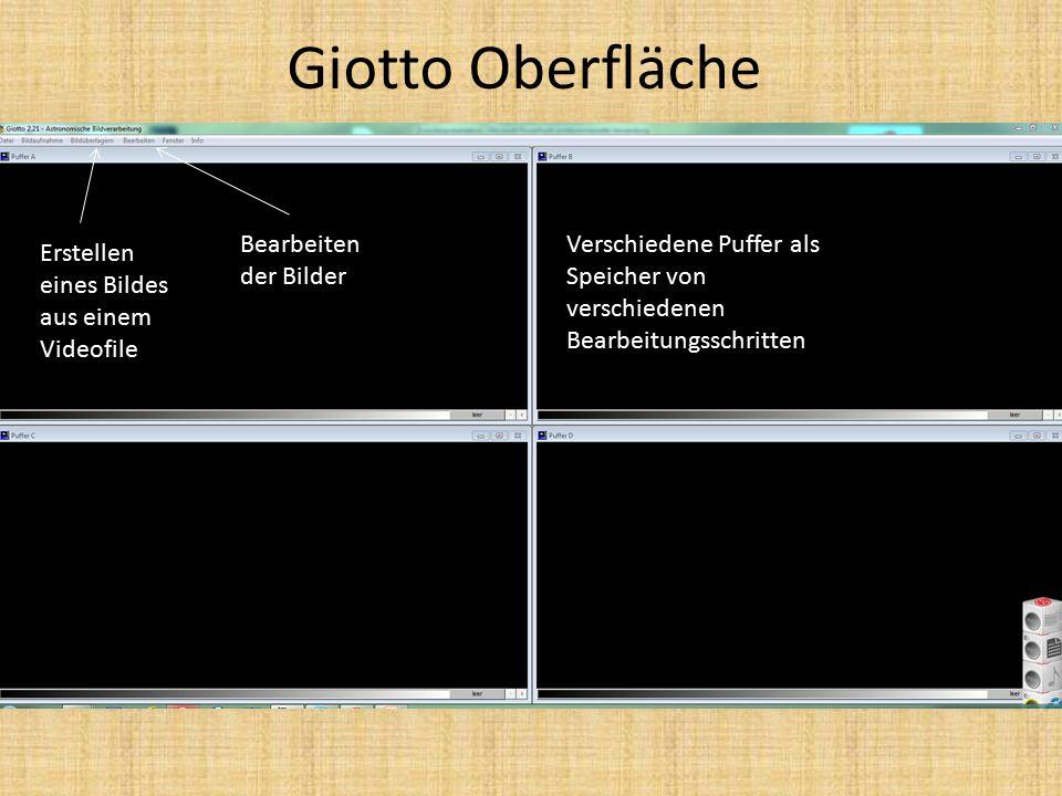 Giotto Oberfläche Verschiedene Puffer als Speicher von verschiedenen Bearbeitungsschritten Erstellen eines Bildes aus einem Videofile Bearbeiten der Bilder