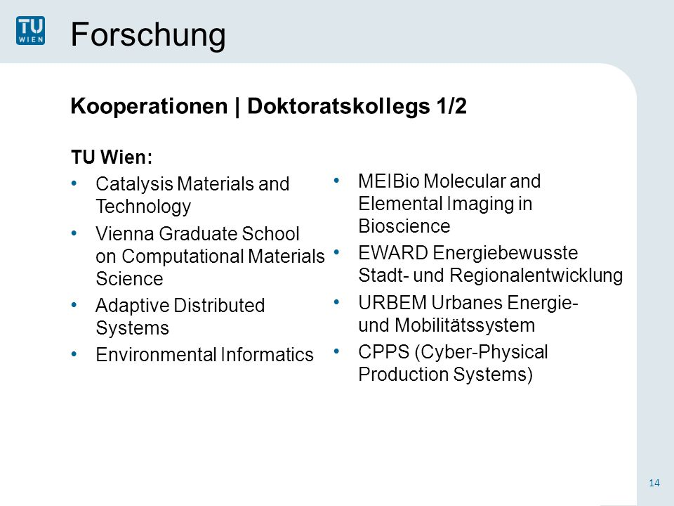 Forschung Kooperationen | Doktoratskollegs 1/2 TU Wien: Catalysis Materials and Technology Vienna Graduate School on Computational Materials Science A