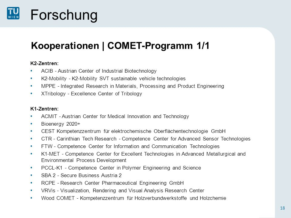 Forschung K2-Zentren: ACIB - Austrian Center of Industrial Biotechnology K2-Mobility - K2-Mobility SVT sustainable vehicle technologies MPPE - Integrated Research in Materials, Processing and Product Engineering XTribology - Excellence Center of Tribology K1-Zentren: ACMIT - Austrian Center for Medical Innovation and Technology Bioenergy 2020+ CEST Kompetenzzentrum für elektrochemische Oberflächentechnologie GmbH CTR - Carinthian Tech Research - Competence Center for Advanced Sensor Technologies FTW - Competence Center for Information and Communication Technologies K1-MET - Competence Center for Excellent Technologies in Advanced Metallurgical and Environmental Process Development PCCL-K1 - Competence Center in Polymer Engineering and Science SBA 2 - Secure Business Austria 2 RCPE - Research Center Pharmaceutical Engineering GmbH VRVis - Visualization, Rendering and Visual Analysis Research Center Wood COMET - Kompetenzzentrum für Holzverbundwerkstoffe und Holzchemie 18 Kooperationen | COMET-Programm 1/1