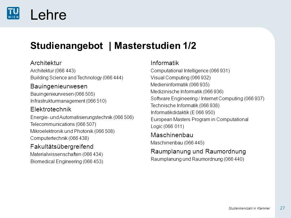 Lehre Architektur Architektur (066 443) Building Science and Technology (066 444) Bauingenieurwesen Bauingenieurwesen (066 505) Infrastrukturmanagement (066 510) Elektrotechnik Energie- und Automatisierungstechnik (066 506) Telecommunications (066 507) Mikroelektronik und Photonik (066 508) Computertechnik (066 438) Fakultätsübergreifend Materialwissenschaften (066 434) Biomedical Engineering (066 453) Informatik Computational Intelligence (066 931) Visual Computing (066 932) Medieninformatik (066 935) Medizinische Informatik (066 936) Software Engineering / Internet Computing (066 937) Technische Informatik (066 938) Informatikdidaktik (E 066 950) European Masters Program in Computational Logic (066 011) Maschinenbau Maschinenbau (066 445) Raumplanung und Raumordnung Raumplanung und Raumordnung (066 440) 27 Studienkennzahl in Klammer Studienangebot | Masterstudien 1/2