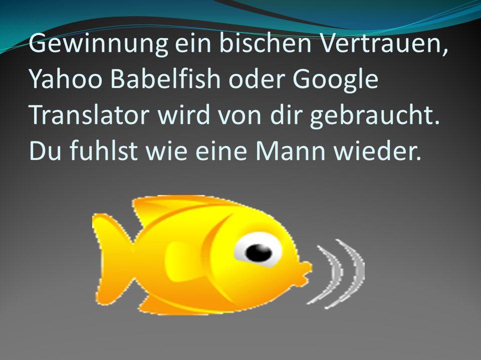 Gewinnung ein bischen Vertrauen, Yahoo Babelfish oder Google Translator wird von dir gebraucht.