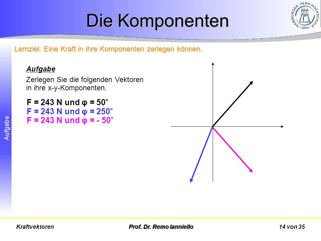 Aufgabe Die Komponenten Prof. Dr. Remo Ianniello14 von 35Kraftvektoren Aufgabe Zerlegen Sie die folgenden Vektoren in ihre x-y-Komponenten. F = 243 N