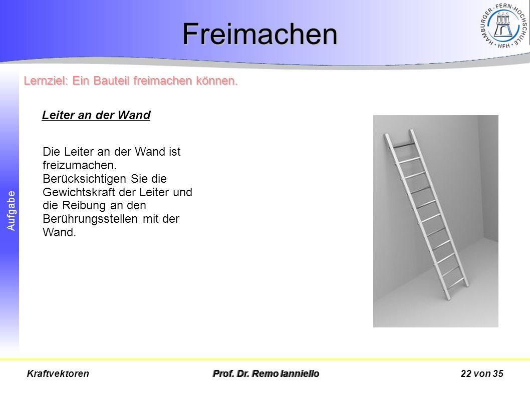 Aufgabe Freimachen Prof. Dr. Remo Ianniello22 von 35Kraftvektoren Die Leiter an der Wand ist freizumachen. Berücksichtigen Sie die Gewichtskraft der L
