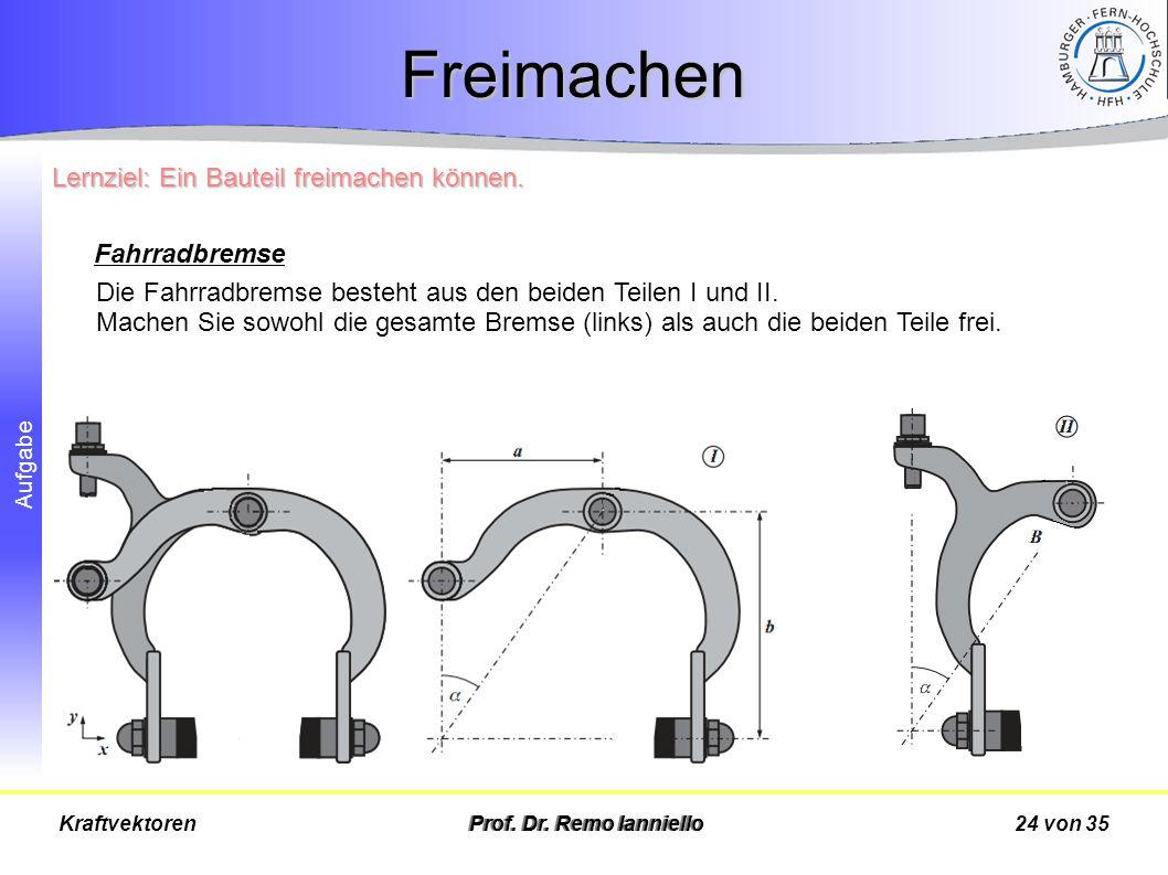 Aufgabe Freimachen Prof. Dr. Remo Ianniello24 von 35Kraftvektoren Die Fahrradbremse besteht aus den beiden Teilen I und II. Machen Sie sowohl die gesa