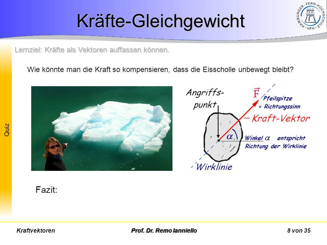 Quiz Kräfte-Gleichgewicht Prof. Dr. Remo Ianniello8 von 35Kraftvektoren Wie könnte man die Kraft so kompensieren, dass die Eisscholle unbewegt bleibt?