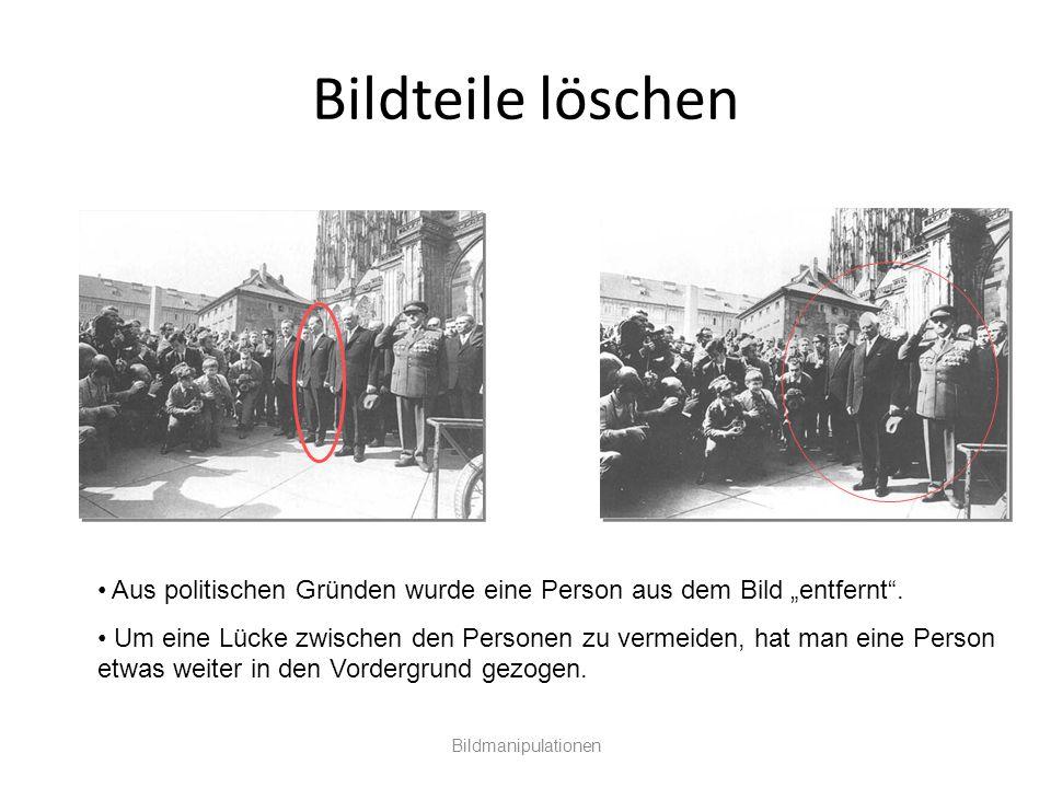"""Bildteile löschen Bildmanipulationen Aus politischen Gründen wurde eine Person aus dem Bild """"entfernt"""". Um eine Lücke zwischen den Personen zu vermeid"""