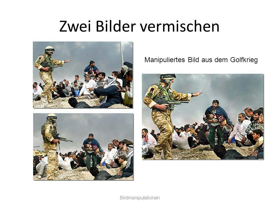 Zwei Bilder vermischen Bildmanipulationen Manipuliertes Bild aus dem Golfkrieg