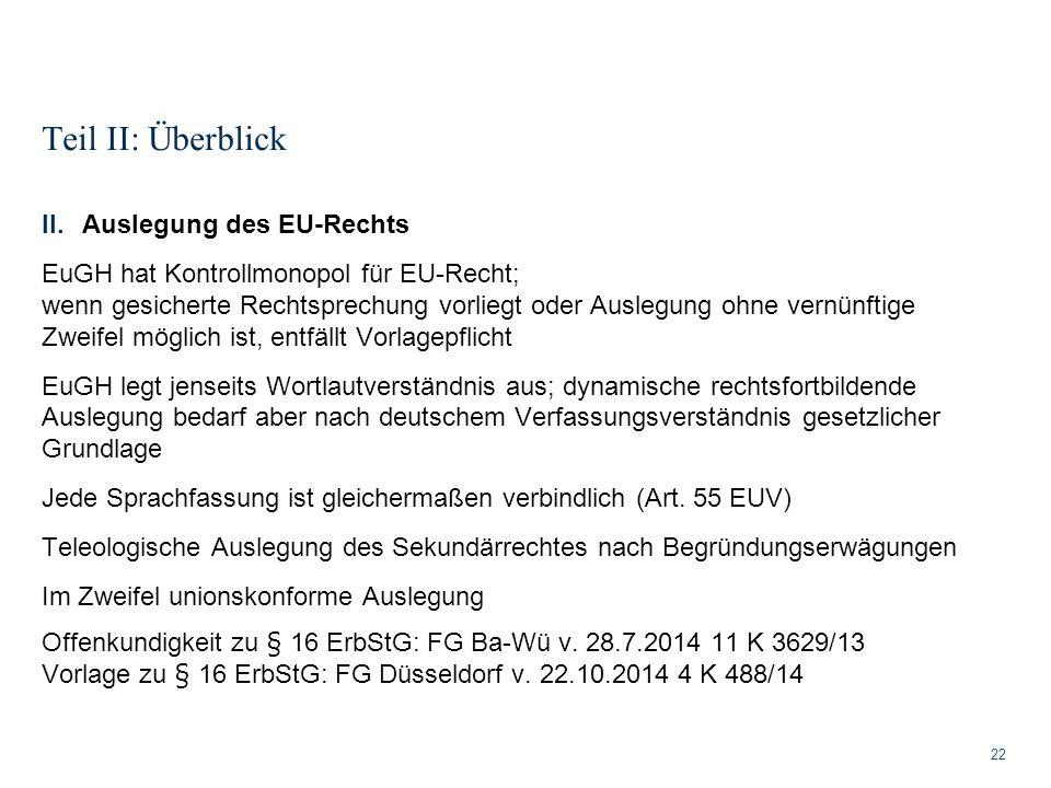 Teil II: Überblick 22 II.Auslegung des EU-Rechts EuGH hat Kontrollmonopol für EU-Recht; wenn gesicherte Rechtsprechung vorliegt oder Auslegung ohne ve