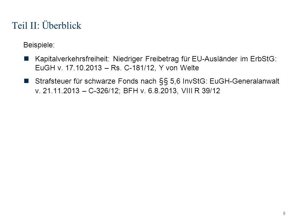 Teil II: Überblick 9 Beispiele: Kapitalverkehrsfreiheit: Niedriger Freibetrag für EU-Ausländer im ErbStG: EuGH v. 17.10.2013 – Rs. C-181/12, Y von Wel