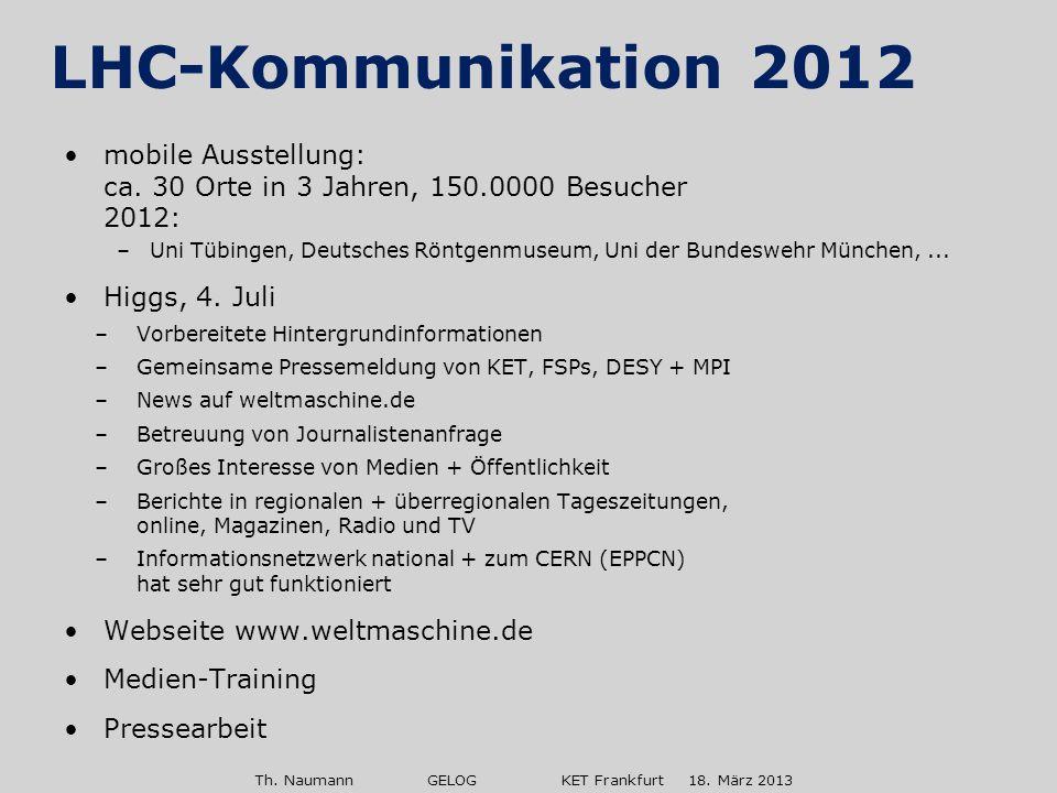 Th. Naumann GELOG KET Frankfurt 18. März 2013 mobile Ausstellung: ca. 30 Orte in 3 Jahren, 150.0000 Besucher 2012: –Uni Tübingen, Deutsches Röntgenmus