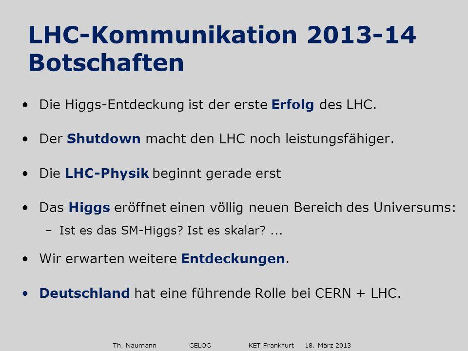 Th. Naumann GELOG KET Frankfurt 18. März 2013 Die Higgs-Entdeckung ist der erste Erfolg des LHC. Der Shutdown macht den LHC noch leistungsfähiger. Die