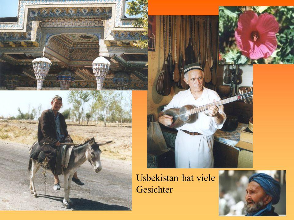 Usbekistan Erdteil: Mittelasien Staatsform: Republik mit Mehr-Parteien- System Landessprachen: Usbekisch; Russisch Staatsreligion: keine Währung: Sum