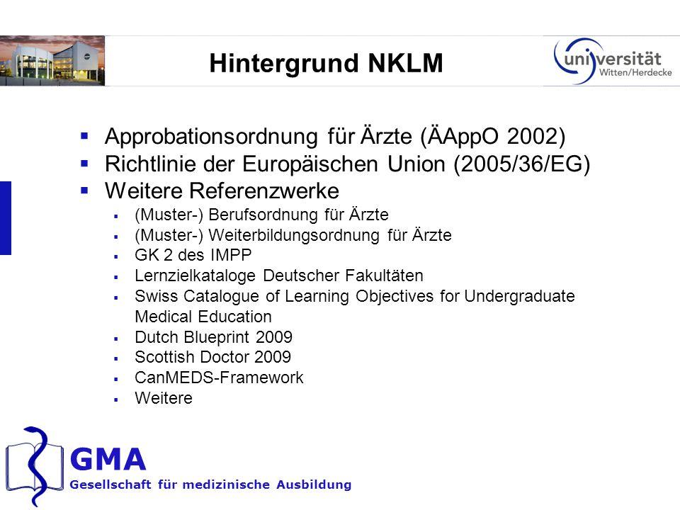 GMA Gesellschaft für medizinische Ausbildung Hintergrund NKLM  Approbationsordnung für Ärzte (ÄAppO 2002)  Richtlinie der Europäischen Union (2005/3