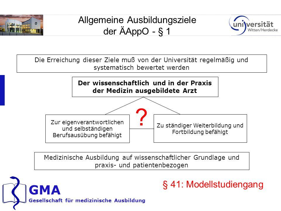 GMA Gesellschaft für medizinische Ausbildung Allgemeine Ausbildungsziele der ÄAppO - § 1 Der wissenschaftlich und in der Praxis der Medizin ausgebilde