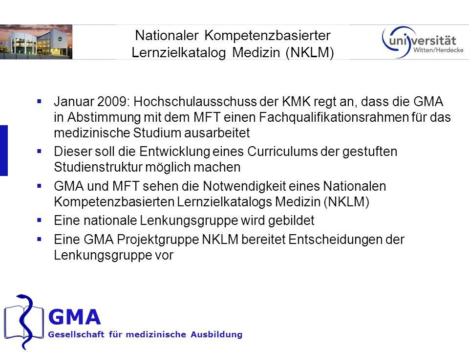 GMA Gesellschaft für medizinische Ausbildung Nationaler Kompetenzbasierter Lernzielkatalog Medizin (NKLM)  Januar 2009: Hochschulausschuss der KMK re