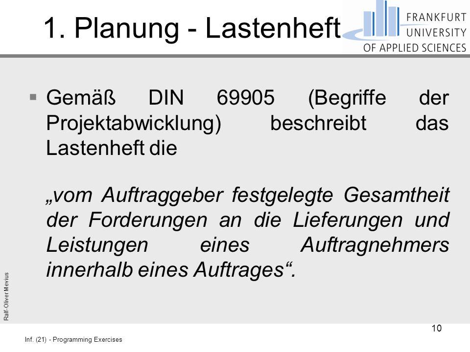 Ralf-Oliver Mevius Inf. (21) - Programming Exercises 1. Planung - Lastenheft  Gemäß DIN 69905 (Begriffe der Projektabwicklung) beschreibt das Lastenh