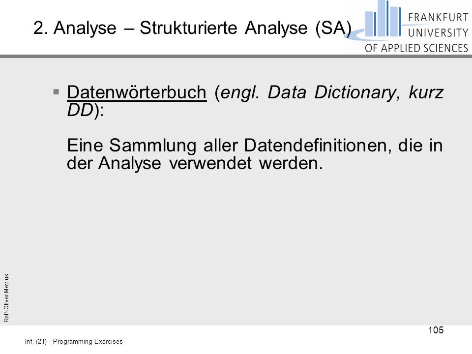 Ralf-Oliver Mevius Inf. (21) - Programming Exercises 2. Analyse – Strukturierte Analyse (SA)  Datenwörterbuch (engl. Data Dictionary, kurz DD): Eine