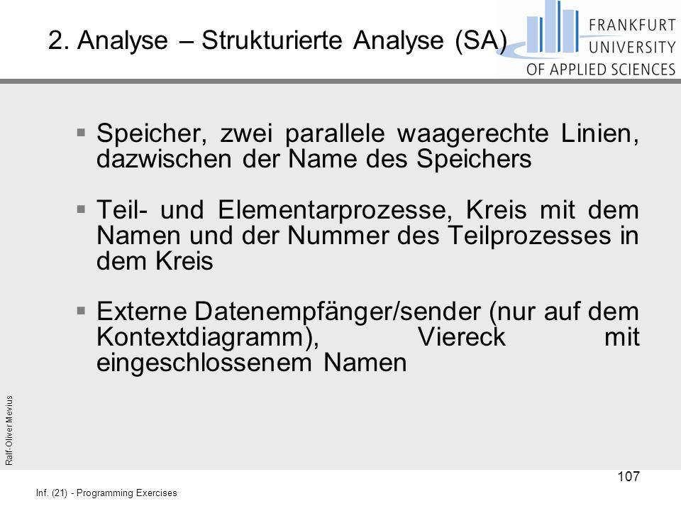 Ralf-Oliver Mevius Inf. (21) - Programming Exercises 2. Analyse – Strukturierte Analyse (SA)  Speicher, zwei parallele waagerechte Linien, dazwischen