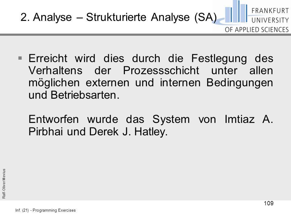Ralf-Oliver Mevius Inf. (21) - Programming Exercises 2. Analyse – Strukturierte Analyse (SA)  Erreicht wird dies durch die Festlegung des Verhaltens
