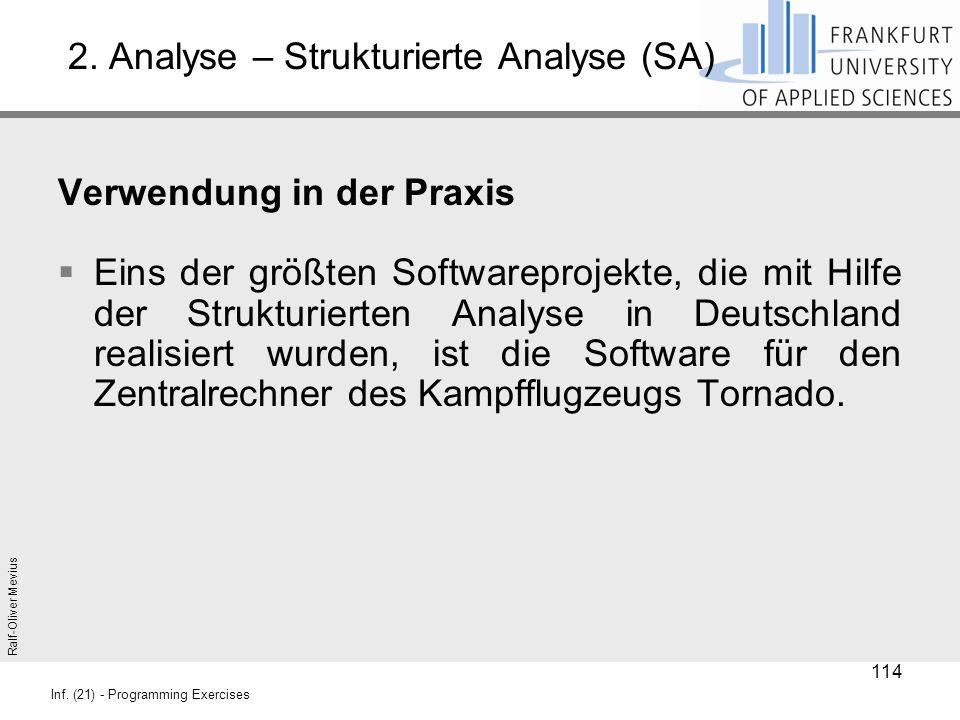 Ralf-Oliver Mevius Inf. (21) - Programming Exercises 2. Analyse – Strukturierte Analyse (SA) Verwendung in der Praxis  Eins der größten Softwareproje