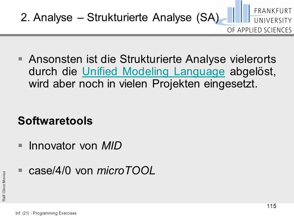 Ralf-Oliver Mevius Inf. (21) - Programming Exercises 2. Analyse – Strukturierte Analyse (SA)  Ansonsten ist die Strukturierte Analyse vielerorts durc