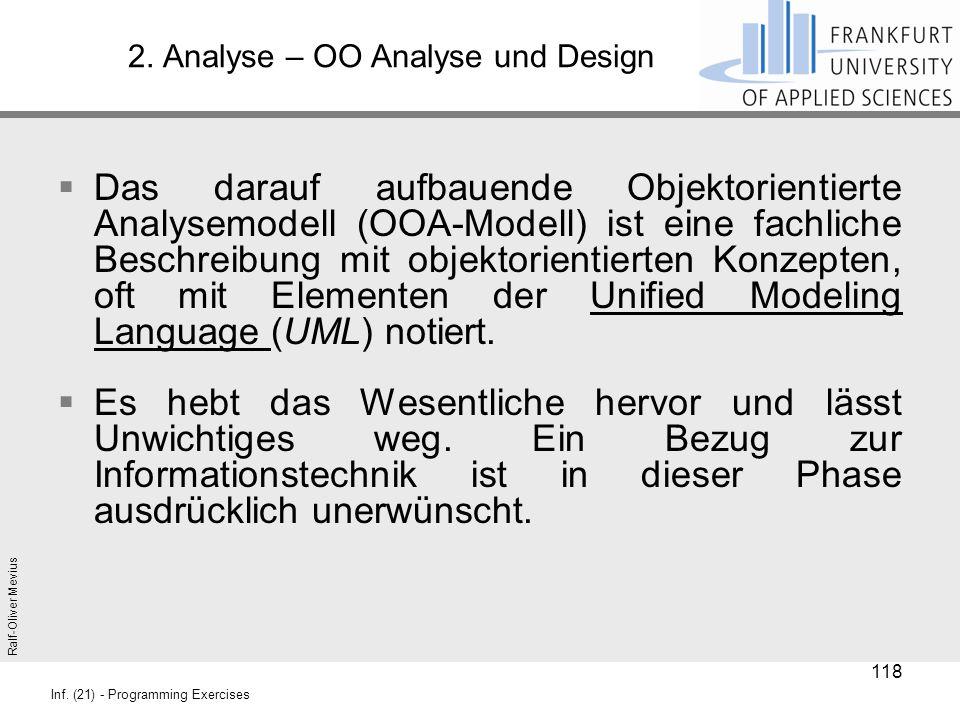 Ralf-Oliver Mevius Inf. (21) - Programming Exercises 2. Analyse – OO Analyse und Design  Das darauf aufbauende Objektorientierte Analysemodell (OOA-M