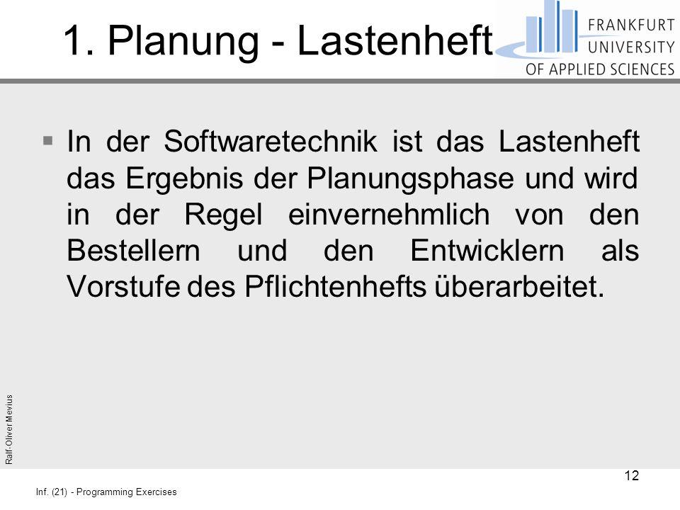 Ralf-Oliver Mevius Inf. (21) - Programming Exercises 1. Planung - Lastenheft  In der Softwaretechnik ist das Lastenheft das Ergebnis der Planungsphas