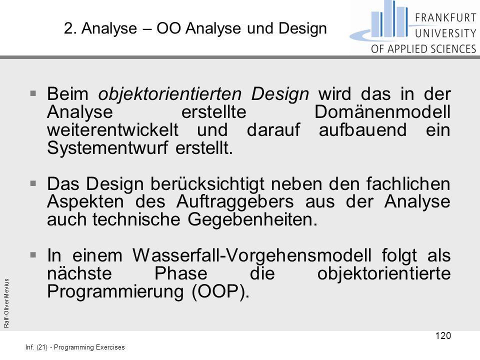 Ralf-Oliver Mevius Inf. (21) - Programming Exercises 2. Analyse – OO Analyse und Design  Beim objektorientierten Design wird das in der Analyse erste