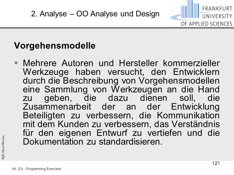 Ralf-Oliver Mevius Inf. (21) - Programming Exercises 2. Analyse – OO Analyse und Design Vorgehensmodelle  Mehrere Autoren und Hersteller kommerzielle