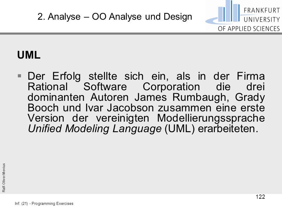 Ralf-Oliver Mevius Inf. (21) - Programming Exercises 2. Analyse – OO Analyse und Design UML  Der Erfolg stellte sich ein, als in der Firma Rational S