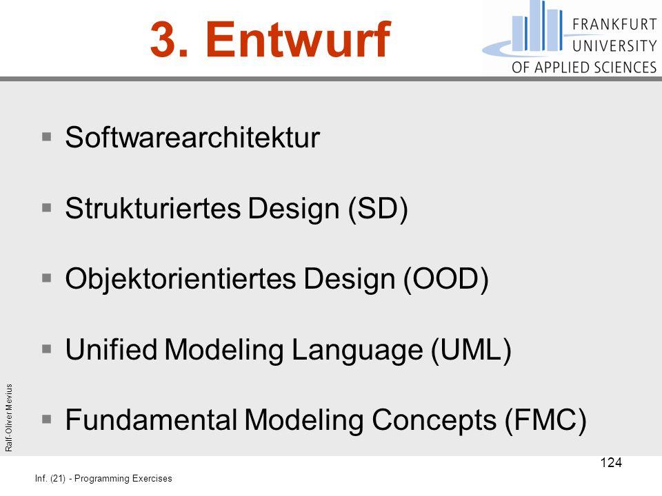 Ralf-Oliver Mevius Inf. (21) - Programming Exercises 3. Entwurf  Softwarearchitektur  Strukturiertes Design (SD)  Objektorientiertes Design (OOD) 
