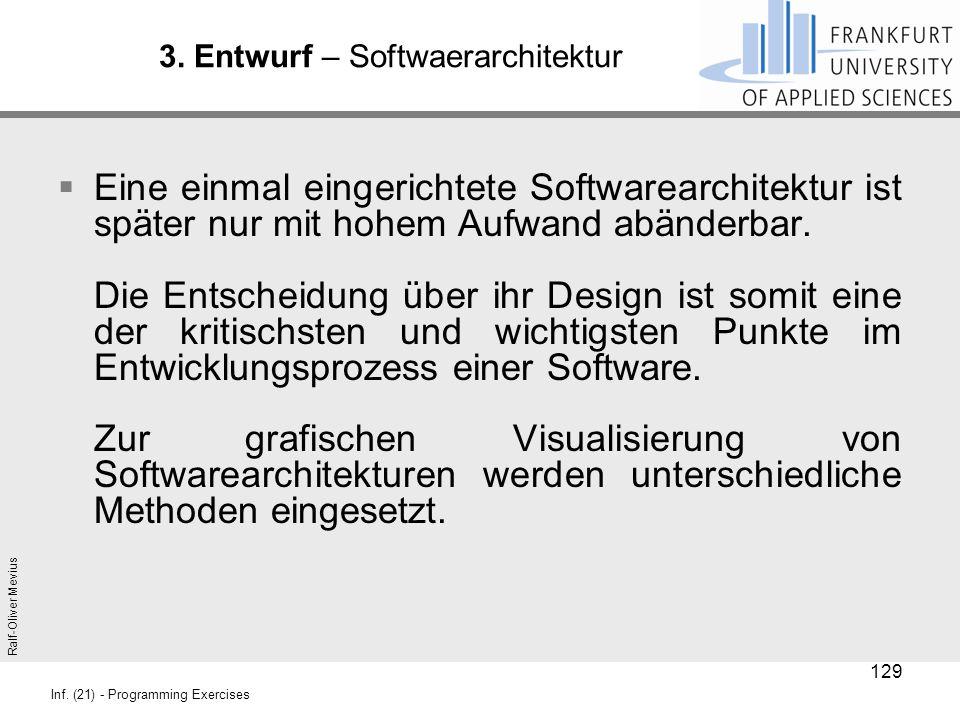 Ralf-Oliver Mevius Inf. (21) - Programming Exercises 3. Entwurf – Softwaerarchitektur  Eine einmal eingerichtete Softwarearchitektur ist später nur m