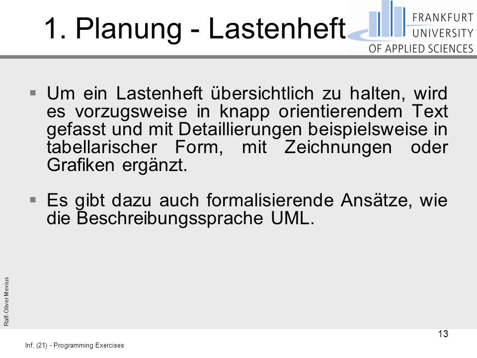 Ralf-Oliver Mevius Inf. (21) - Programming Exercises 1. Planung - Lastenheft  Um ein Lastenheft übersichtlich zu halten, wird es vorzugsweise in knap