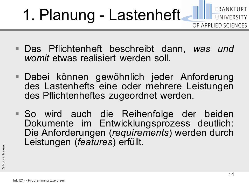 Ralf-Oliver Mevius Inf. (21) - Programming Exercises 1. Planung - Lastenheft  Das Pflichtenheft beschreibt dann, was und womit etwas realisiert werde