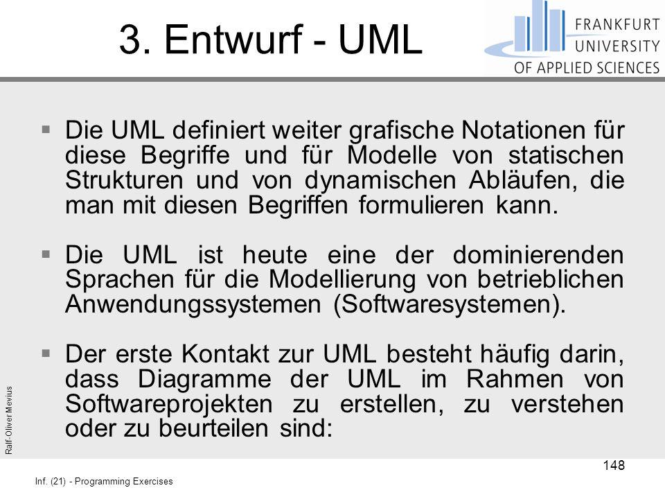 Ralf-Oliver Mevius Inf. (21) - Programming Exercises 3. Entwurf - UML  Die UML definiert weiter grafische Notationen für diese Begriffe und für Model