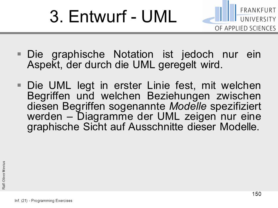 Ralf-Oliver Mevius Inf. (21) - Programming Exercises 3. Entwurf - UML  Die graphische Notation ist jedoch nur ein Aspekt, der durch die UML geregelt
